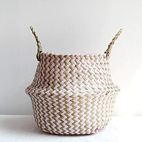 MEICHENG-DZ Refreshing Seagrass Folding Handmade Storage Basket Decorative Rattan Plant Flower Pot Woven Wicker Belly Laundry Basket Home Decor simple (Color : Pink, Size : 22cmX20cm)