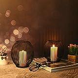 VOFANK Kerzenständer 2er Set, Schwarz Kerzenhalter Metall Oval Kerzenleuchter Kreativ Vintage Kerzen Ständer für Deko Wohnzimmer Tischdeko Weihnachts Hochzeit -14 x 15,5cm, 16 x 18cm