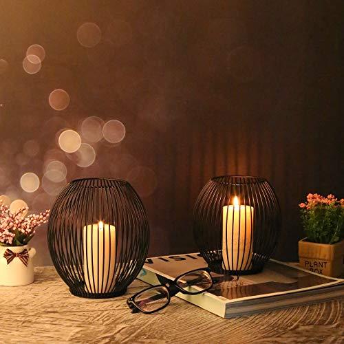 VOFANK Kerzenständer Schwarz 2er Set, Oval Kerzenhalter Vintage Metall Kerzenleuchter für Hochzeit Geburtstag Valentinstag Weihnachten Home Deko - 14 x 15.5cm, 16 x 18cm