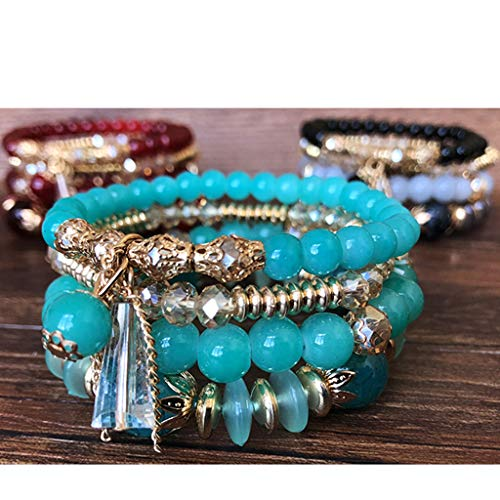 jieGorge Accessory, Women Bohemian hand string ocean style multi circle Pearl Crystal Bracelet, Clothing Shoes & Accessories (Green Free Size)