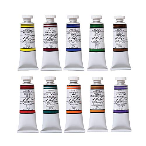M. Graham GRM-33-10SET Intermediate 10-Color Watercolor Paint Set, 1/2-Ounce Tube