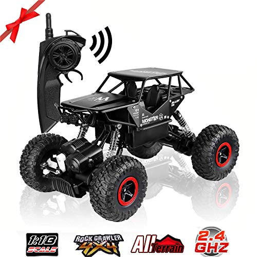 SZJJX RC Cars Off-Road Rock Crawler Truck Vehicle 2.4Ghz 4WD 1:18 Radio Remote Control Cars Electric Fast Racing Buggy Hobby Car (Black)