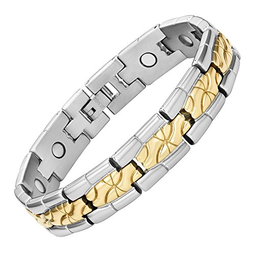 Willis Judd Titanium Magnetic Therapy Bracelet for Arthritis Pain Relief Two Tone Size Adjusting Tool and Gift Box Included
