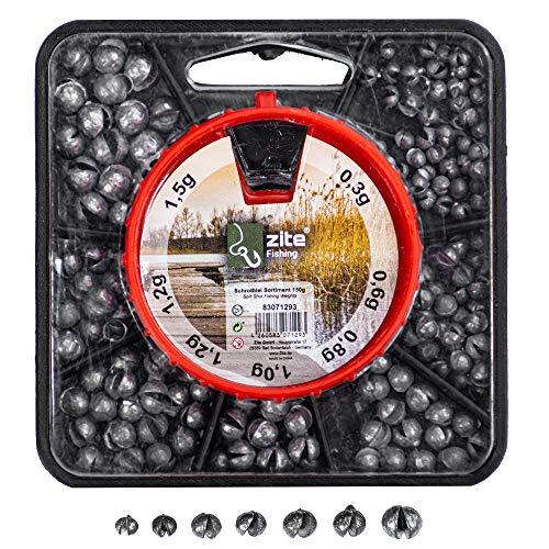 Zite Fishing Bleischrot-Sortiment 150g - Schrotblei zum Angeln in Spender-Dose - Angel-Blei Set zum Klemmen für Posen-Montagen und mehr