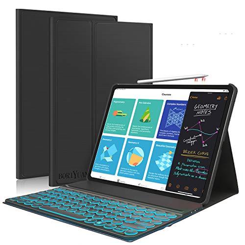 iPad Pro 12.9 2020/2018 Keyboard Case [Support Apple Pencil Charging],7 Colors Backlit Detachable Keyboard,Folio Smart Cover for iPad Pro 12.9 4th Gen 2020/3rd Gen 2018,Black