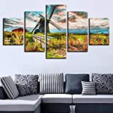 mmwin HD Impreso Modern Canvas Living Room Imágenes 5 Panel Windmill Landscape...