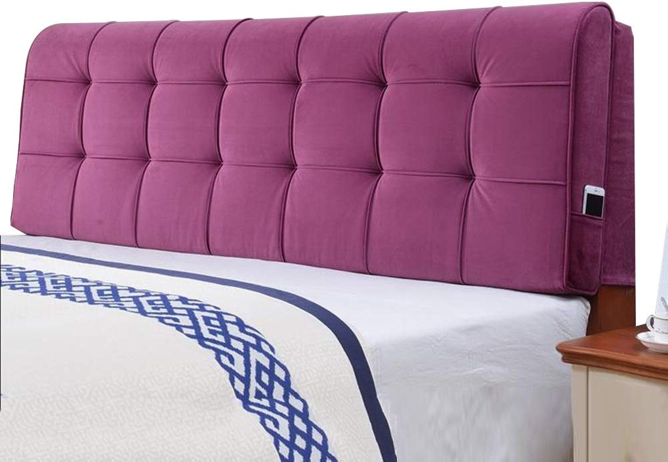 KKCF-Coussins de chevet étui Souple Dossier Résiste à L'humidité Lavable Accueil Fibre Extra Fine, 6 Couleurs 8 Tailles (Couleur   violet-B, Taille   longueur 150cm)