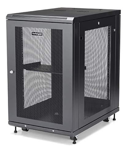 StarTechcom 18U Server Rack Cabinet  4Post Adjustable Depth 2quot to 30quot Network Equipment Rack Enclosure w/Casters/Cable Management/Shelf /Locking Dell PowerEdge HP ProLiant ThinkServer RK1833BKM