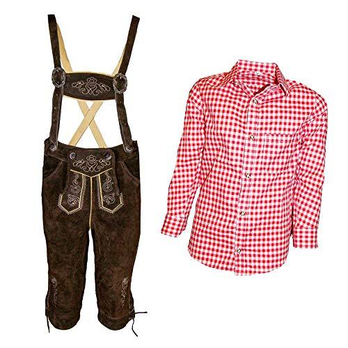 MS-Trachten MS-Trachten Trachtenset Kinder Kniebund Lederhose Anton mit Hemd (Set rotkariert, 116)