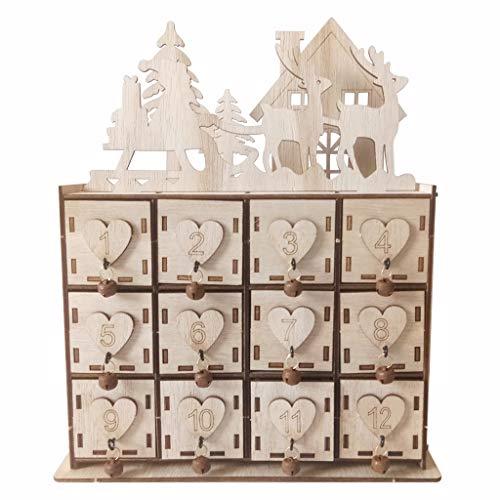 Rongzou Kalender, 1 Stks Hout Hart Kerstmis Avonturenhuis Xmas Herten Decor DIY Sieraden Doos Natuurlijke Ambachten benodigdheden