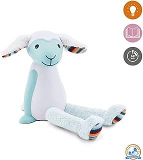 Kids Portable Reading Night Light Toy - Blue Bedside Reading Lamp, Auto Shut-Off, Adjustable Brightness, Cordless - Fin The Sheep by Zazu Kids