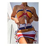 MASHUANG Llamativo Set de Bikini de 3 Piezas Halter para Mujeres, Falda de Envoltura Hueca Lateral, Traje de baño sin Tirantes de Cintura Alta de Cintura Abajo, 2021 otoño De Moda