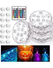 Onderdompelbaar LED-licht, 4 PCS waterdicht Zwembadverlichting Led-Onderwaterlicht Met Afstandsbediening,Onderwaterverlichting 16 kleuren Voor Bruiloft/Feest/Zwembad/Halloween/Aquariumdecoratie/feest