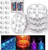 Luz sumergible, 4PCS Piscina Luces LED 16 ventosas 2 RGB mando distancia, Lluminación para estanque, Base de jarrón, jacuzzi, tanque de peces, Acuario, Bodas, Fiesta, jardín, Hogar Decoración