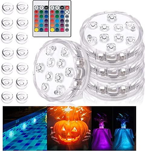 Luz sumergible, 4PCS Piscina Luces LED 16 ventosas 2 RGB mando distancia, Lluminación para...