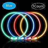 PetIsay Collier Chien LED, Rechargeable par USB, étanche, Longueur Ajustable(Bleu)