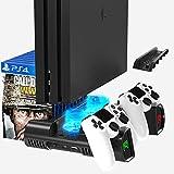 Likorlove Soporte Vertical para PS4 Pro Slim con Ventilador de Refrigeración, Estación de Carga del Controlador con Indicadores LED y Almacenamiento para 10 Juegos,Soporte para Juegos de Blu-ray