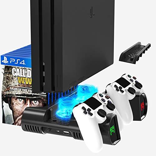 Likorlove Soporte Vertical con Ventilador de Refrigeración para PS4/PS4 Pro/PS4 Slim, Base para Playsation 4, Cargador de Controlador PS4 con LED Indicador y 10pcs Almacenamiento de Discos - Negro