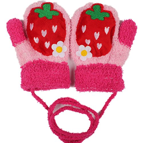 Glamour Girlz Adorables manoplas de invierno súper suaves para bebés y niñas de 1 a 2 años, color rojo fresa