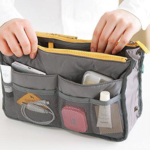 Geldbörse Organizer Einsatz Multifunktions-Kosmetik Aufbewahrung Bag in Bag Gray 08