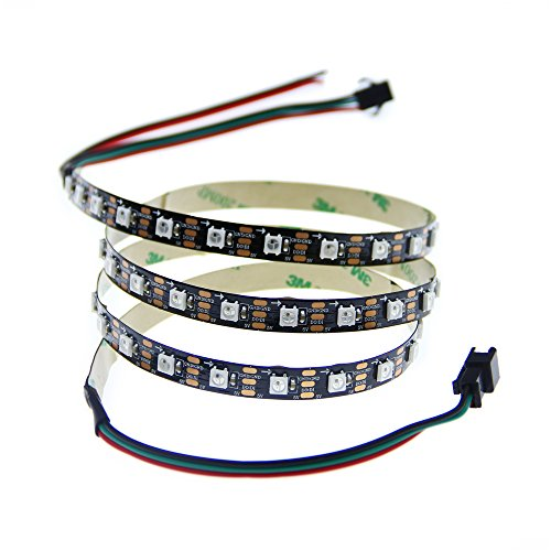 ALITOVE Tira de luz LED RGB direccionable individual WS2812B 60 píxeles programable WS2811 IC incorporada 5050 cuerda lámpara DC5V negro PCB no impermeable compatible con Arduino, Raspberry Pi