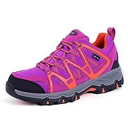 TFO Damen Trekking & Wanderschuhe Atmungsaktive Walkingschuhe Sport Outdoor Schuhe mit Gedämpfter Sohle, Violett Orange, 40.5 EU