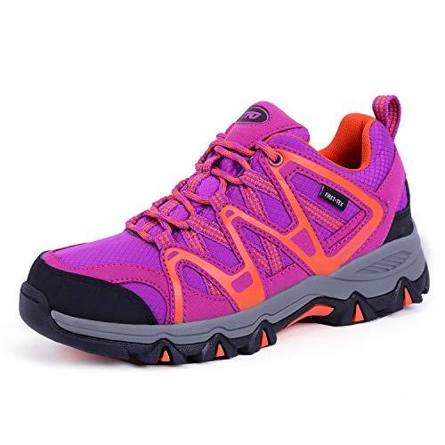 TFO Damen Trekking & Wanderschuhe Atmungsaktive Walkingschuhe Sport Outdoor Schuhe mit Gedämpfter Sohle, Violett Orange, 39.5 EU