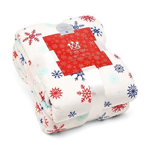 Kingole Flannel Fleece Microfiber Throw Blanket, Luxury Christmas Snowflake Twin Size Lightweight Cozy Couch Bed Super Soft and Warm Plush Solid Color 350GSM (White 66 x 90 inches)