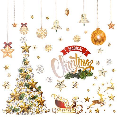 Navideños Etiqueta Estática, hicoosee Reutilizable Ventana de Navidad se Aferra para Decoraciones de Escaparates