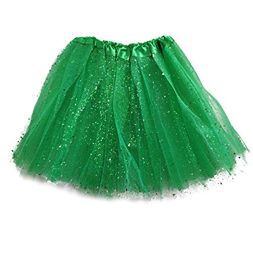 MUNDDY Tutu Elastico Tul 3 Capas 30 CM de Longitud para niña Bebe Distintas Colores Falda Disfraz Ballet (Verde Oscuro con Purpurina)