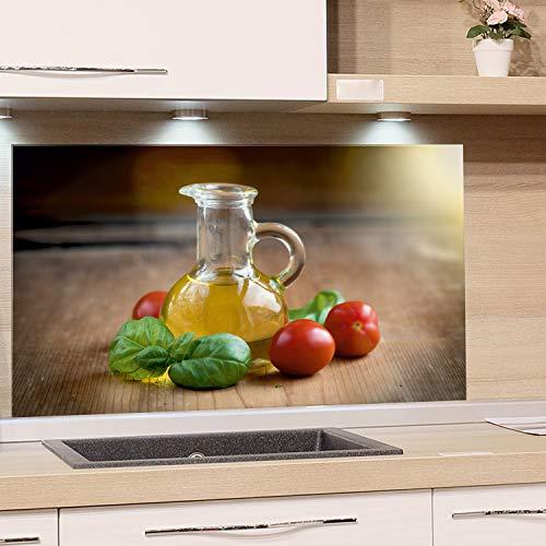 GRAZDesign Küchenrückwand Glas-Bild Spritzschutz Herd Edler Kunstdruck hinter Glas Bild-Motiv Flasche Öl Eyecatcher für Zuhause / 80x40cm
