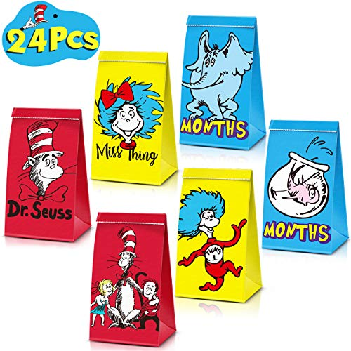 24 Party Bags For Dr. Seuss Birthday Party Decorations Supplies