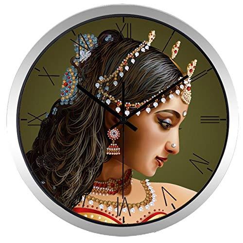 Horloge Murale Classique Portrait Inde Creative Beauté Fille Horloge Murale Décoration 14 Pouces B308S
