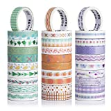 Jolintek Washi Tapes, 30 Rotoli Colorato Washi Tape, Colorati Nastro Adesivo Decorativo, Bronzing Washi Tapes, Nastro Adesivo Decorativo per Fai da Te, Confezioni Regalo, Accessori per Scrapbooking