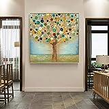 KWzEQ Arte Moderno Abstracto Aceite Dinero Dinero Manzano Imagen Sala de Estar Dormitorio decoración del hogar,Pintura sin Marco,75x75cm