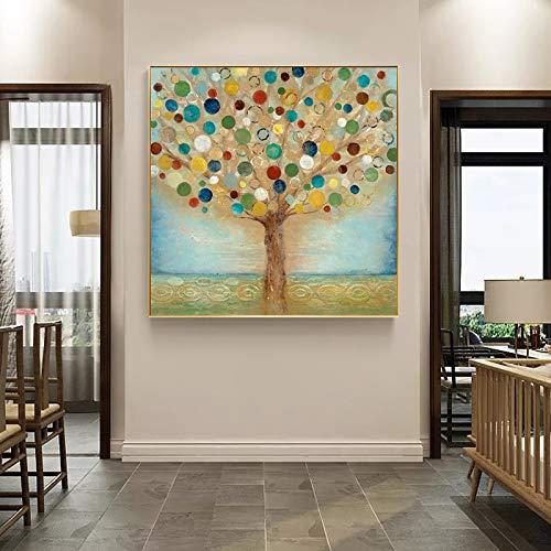 KWzEQ Arte Moderno Abstracto Aceite Dinero Dinero Manzano Imagen Sala de Estar Dormitorio decoración del hogar,Pintura sin Marco,45x45cm