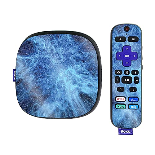 MightySkins Glossy Glitter Skin Compatible with Roku Ultra HDR 4K Streaming Media Player (2020) - Blue Mystic Flames | Protective, Durable High-Gloss Glitter Finish | Easy to Apply | Made in The USA