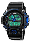 Men's Watches Multi Function Military S-Shock Sports Watch LED Digital Waterproof Alarm Watches (B- Black Blue)