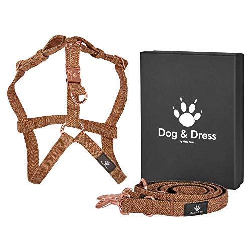 Dog & Dress by Nacy Kena Arnes Perro antitirones Oro Rosa Ajustable Correa para Perro de 2 m 3X Ajustables, Tweed Tartan Nylon para Perro Grande Mediano y pequeño