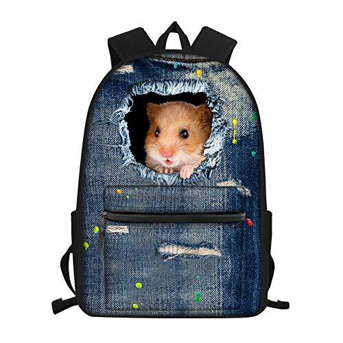 Nopersonality Mochila de estudiante de escuela primaria media con estampado animal para niñas y niños, mochila impermeable