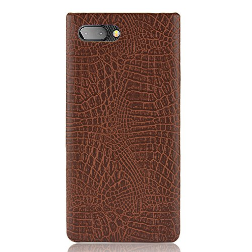Zl One Crocodile Pattern PU Leather Case Back Cover + 1 Screen Protector 9H Tempered Glass for BlackBerry Key2 (Brown)