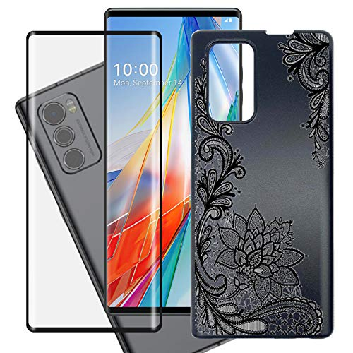 """HHUAN Case + Tempered Glass Screen Protector for LG Wing 5G (6.8""""), Black Hard PC Phone Protective case Shock-Absorption Bumper Cover [Ultra-Thin and Lightweight Design] - WM108"""