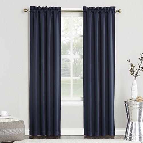 "Sun Zero Easton Blackout Energy Efficient Rod Pocket Curtain Panel, 40"" x 63"", Navy Blue"