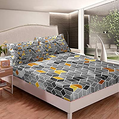 Geometric Cube Bedding Set for Boys Teens Bedroom Kids Child Modern Style Rubik's Cube Fitted Sheet Hippie Style Printed Bed Sheet Set Fashion Bed Cover Soft Lightweight Microfiber
