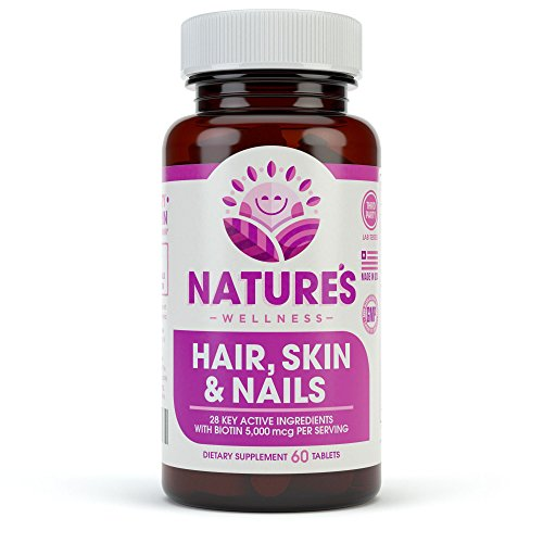 Hair, Skin & Nails Supplement - 5000mcg Biotin, Silica, Vitamin C, E, B, Natural Essential Vitamins, and Advanced Nutrient Complex for Thinning Hair, Men...