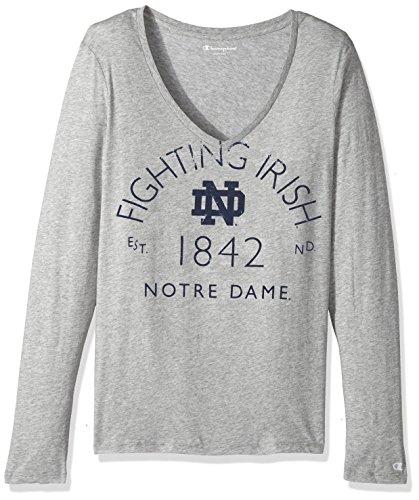 NCAA Notre Dame Fighting Irish WoMens University Long sleeve V-Neck Gray Tee, Small, Oxford Heather