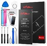 Batteria per iPhone 8 Alta Capacità 2400mAh Batteria Interna di Ricambio in Li-ion, Strumenti di Riparazione Completi con Kit Sostituzione, Cacciavite Strumenti e Adesivo