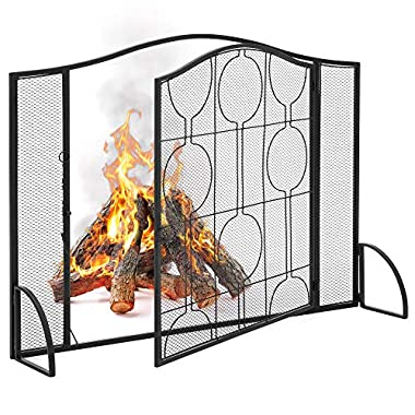 Best Choice Products Single Panel 40x29in Heavy-Duty Steel Mesh Fireplace Screen, Fire Spark Guard Gate for Indoor & Outdoor w/Locking Door