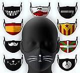 Cubierta Facial de Tela Víspera Todos los Santos Halloween con Dibujo Gata Lavable Reutilizable...