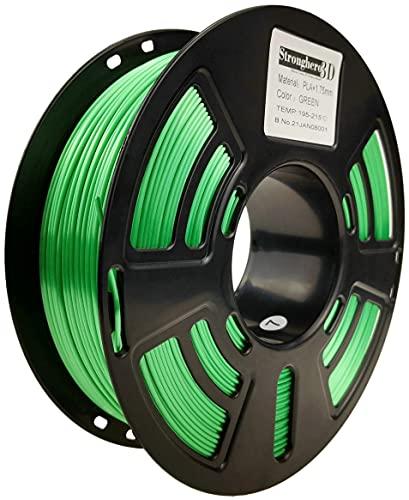 Stronghero3D Desktop FDM 3D printer filament PLA green 1.75 mm 1 kg (2.2 lbs) dimension accuracy of +/-0.05 mm for Ender3 Cr10.